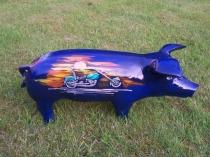 Blaues Sparschwein mit Harley Davidson