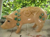 Sparschwein mit Efeuranke zur Hochzeit