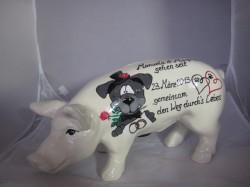 Sparschwein mit Comichund zur Hochzeit_1