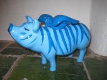 Blaues Sparschwein als  Zebra