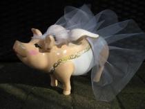 Sparschwein als Braut zur Hochzeit