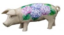 Sparschwein mit Hortensien