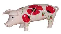 Weißes Sparschwein mit Mohn