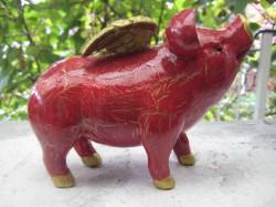 Mini- Sparschweine mit Flügeln